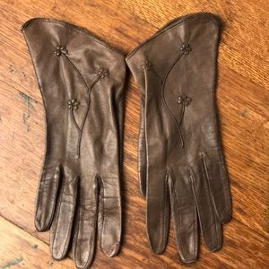 Gloves Vintage Brown Leather Flower Angled